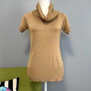 Ann Taylor Gold Short Sleeve Turtleneck Sweater